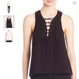 Roi blouse lace up V neck, cotton, fray hem,